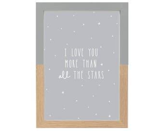 I love you more than all the stars Nursery decor, Monochrome nursery, Grey nursery print, Quote print, Scandinavian print, Wall art
