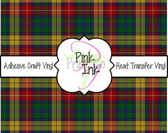 Gold, Red and Green Tartan Plaid Adhesive Vinyl and Heat Transfer Vinyl in pattern 878