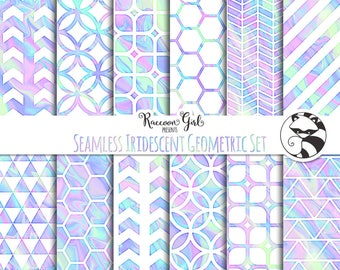 Seamless Iridescent Geometric Digital Paper Set - Personal & Commercial Use