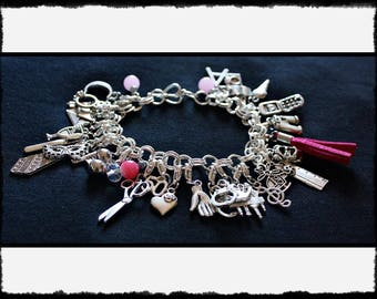 Pink Charm Bracelet with Flogger / Whip Charm // Fifty Shades of Grey Inspired // BDSM Gift // Cincuenta Sombras