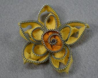 Yellow Daffodil Pin, Daffodil Brooch,  Flower Brooch, Flower Pin, Upcycled - Recycled - Repurposed - Jewelry, Easter Pin, Easter Brooch,