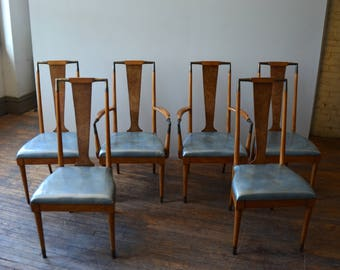 Mid Century Modern J L Metz Tall Back Dining Chairs Set Of 6
