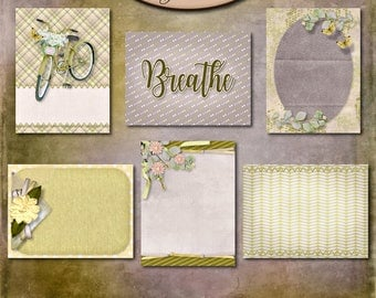 Digital Scrapbook: Inner Calm 3x4 Journaling and Decorative Cards 1