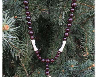 Garnet and Bone Beaded Necklace