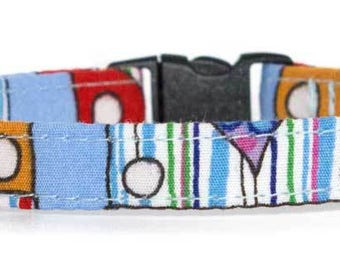Noddy & Sweets Adjustable Cat Collar with bell and charm [Camper Van Blue]