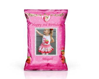 Strawberry Shortcake Inspired Custom Favor/Chip Bags 12ct.