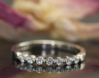 Super Value! Single Shared Prong Diamond Band in 14k White Gold, 0.25ctw, 2mm Wide, 3/8 Eternity, Closed Baskets, Brooke SV