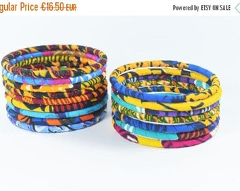 SUMMER SALE 8 Handmade Multicolore African Fabric Bangles, Handmade Bangles, African Print Bangles, African Bracelets, Bracelets Africains