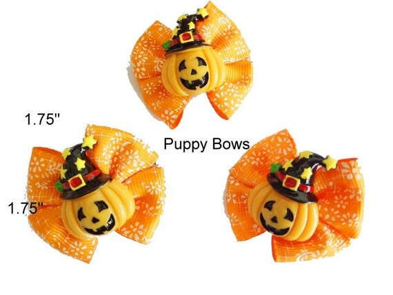 SALE! Puppy Bows ~ September promotion HALLOWEEN PUMPKIN dog bow  pet hair clip barrette only 2.95!