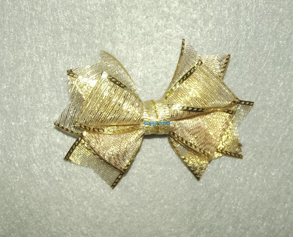 Puppy Bows ~  Boutique gold show pet hair bow latex bands or barrette  (fb82)