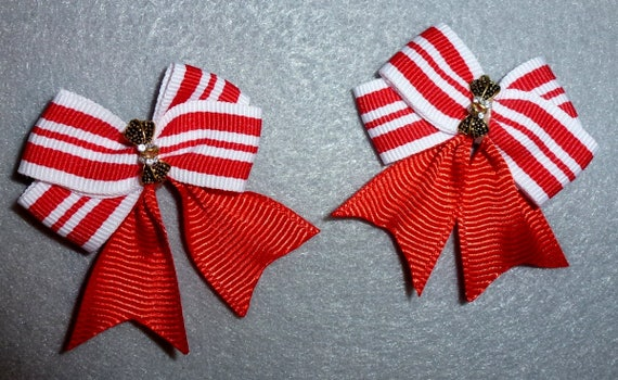 Puppy Bows ~ Fancy red stripe PAIR with rhinestone centers dog bow bands or barrette clips  (fb85)