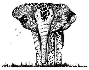 Limited Edition Elephant and Birds Drawing Print- Signed by Kelsey Montague