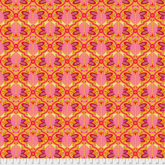 "Pre-Order FQ BEE Marigold Tula Pink  pwtp115.marig  18"" x 22"" Multiples cut as one length"