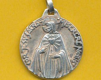 Large Art Deco silver alloy Religious Charm Catholic Medal pendant Our Lady of Mount Carmel and Sacred Heart of Jesus Signed PY ( ref 0928)