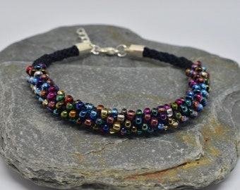 Kumihimo Beaded Bracelet - Multi-colour/Black