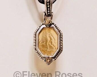 Italian Amber Venetian Glass Intaglio Enhancer Pendant 925 Sterling Silver 750 18k Gold Hinged Bail Free US Shipping