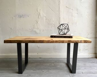 Industrial Chic Modern Coffee Table With Handcrafted Wood Top And Steel  Legs, Metal Base,