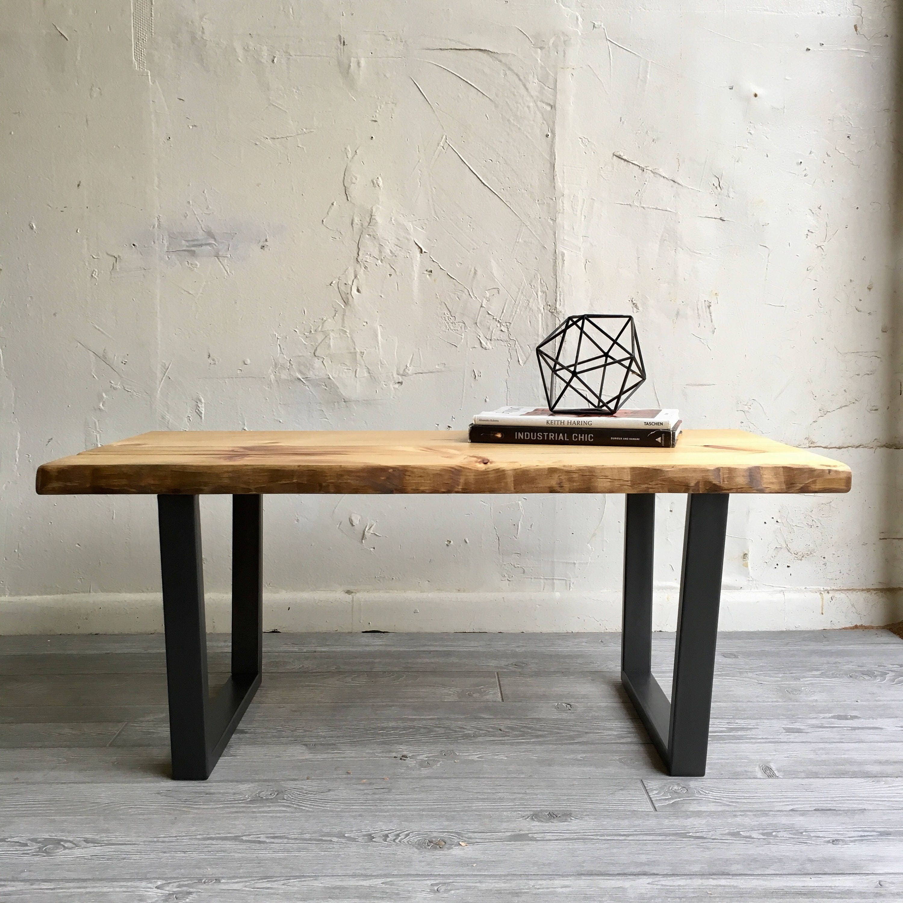 Industrial chic modern coffee table with handcrafted wood top