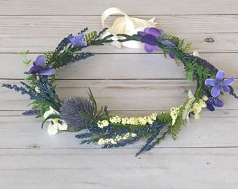 Adult Purple Flower Crown, Maternity Photo Flower Crown, Bridal Shower Flower Crown, Adult Purple Wildflower Crown, Baby Shower Flower Crown