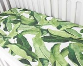 Fitted Crib Sheet or Change Pad Cover - Tropical Leaves - Banana Leaves - Botanical Nursery