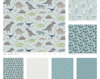 Fossil Rim Dinosaurs Blue Bundle by Deena Rutter for Riley Blake Designs