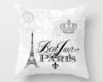 Paris pillow, Black and white - Bonjour Paris throw pillow, Eiffel Tower, travel map, crown, throw pillow, home, decor, designer