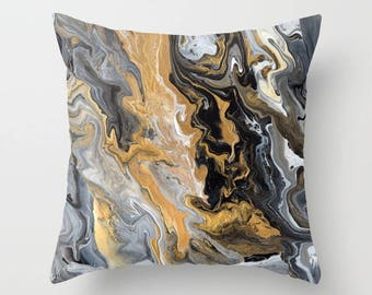Black and Gold Marble decorative Throw Pillow,  paint swirls,  abstract, modern, sophisticated,  beautiful chic decor