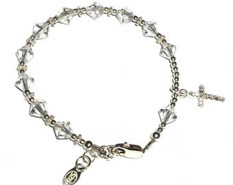 Sterling Silver First Communion Rosary Bracelet with Swarovski Crystals and Cross for First Communion Gift for Girls (029)