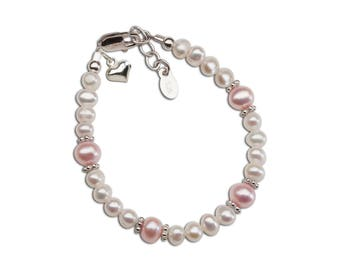 """Sterling Silver Bracelet with Freshwater Pearls and Puff Heart Charm for Girls from our """"Timeless Collection"""" (TC-Miranda)"""