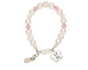 "Sterling Silver ""Lil Sis"" Bracelet with Swarovski ELEMENTS Pearls and Lil Sis Flower Charm with Gift Box for Lil Sister (Lil Sis Flower)"