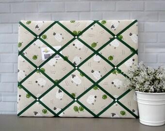 Beige and green sheep print | fabric | memo board | notice board | bulletin board | 40 x 50cm