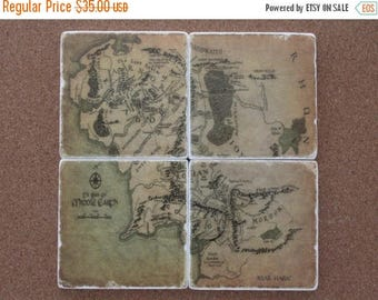 SALE Set of 4 Tumbled Marble Tile Coasters - Lord of the Rings Inspired Map of Middle Earth