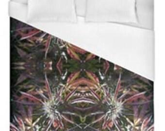 Leaf Duvet Cover, Bohemian Duvet Cover Blueberry Frost Cannabis Print,Duvet Cover Floral, Leaf Bedding,Hippy Decor, Duvet Cover Full
