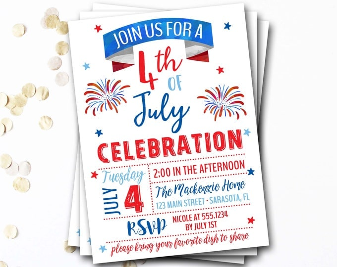 4th of July Invitation, Fourth of July Invitation, 4th of July Party, Patriotic Party, Fourth of July Party, Fireworks, DIY Printable