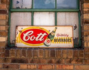 Cott Beverages Ginger Ale Tin Sign Vintage Soda Advertising Decor