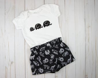 Elephant Baby Clothes - Baby Outfits Summer - Neutral Baby Clothes - Coming Home Outfit - Safari Baby Clothes - Toddler Clothes