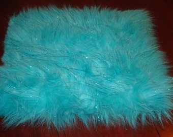Blue Shaggy Faux Fur w/Tinsel Remnant One piece 16 1/2 inch long 52 inch wide