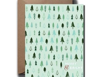 Whimsical Trees Merry & Bright Christmas Greeting Card // 1 4.25x5.5 PRINTED Card + Envelope // Hand Lettered Card, Greeting Card
