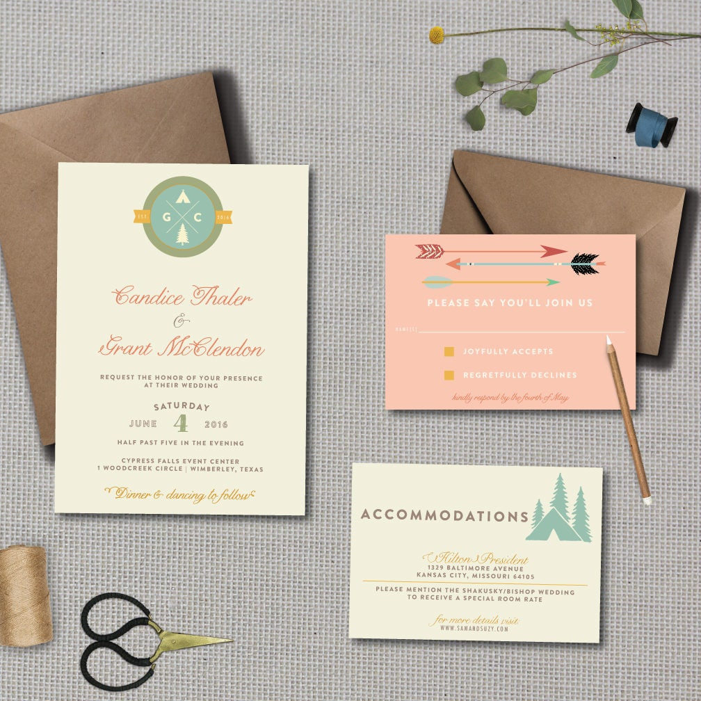 Whimsical Camp Wedding Invitation // DOWN PAYMENT Towards