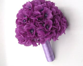 Hydrangea Bouquet,Wedding Bouquet Set,Purple Bridal Bridesmaid Bouquet,Bride Brooch Bouquet,Silk Flower Hydrangea,Centerpiece,Purple,9'',7''