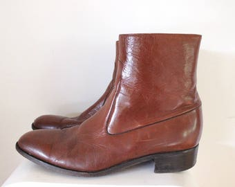 Mens designer boots brown genuine leather size 44 ankle boots slip on dress shoe