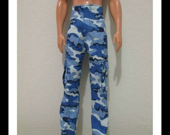 Barbie Doll Clothing ken doll blue camouflage canvas pants with pockets handmade