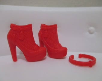 Barbie®accessory barbie doll red high heeled booties with necklace set