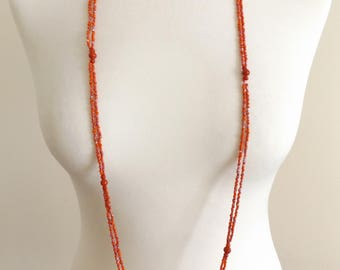 Beautiful Vintage 1970's Red Beaded 2 Strand Necklace.