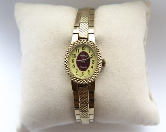 "Beautiful Vintage 1970's USSR Soviet ""Chaika"" Ladies 17 Jewels Gold Plated Hand Wind Wrist Watch, Working."