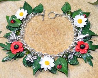 Summer Flowers Daisy and Poppy Bracelet - Handmade Polymer Clay Jewellery