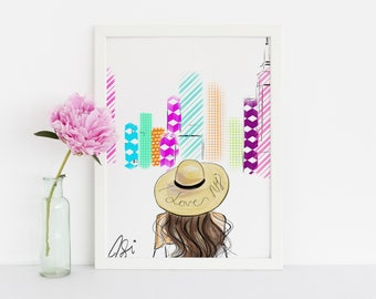 I love NYC (Fashion Illustration Print)
