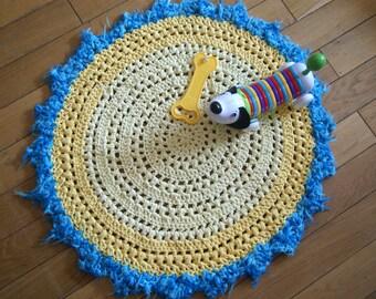Yellow Rug Crochet, Crochet Rug, Doily Rug, Round Rug, handmade Rug, yellow blue rug