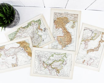 Vintage Art Prints, Asian Countries Map Vintage Map Print, World Map Print, Map Art, World Map Wall Art, Antique Prints for Living Room E405