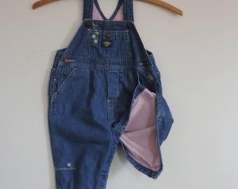 OshKosh Denim Overalls Embroidering and Pink Flannel Lining 6-9 mo. OshKosh Infants Clothing